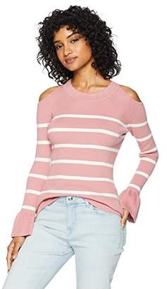 Cable Stitch Women's Cold Shoulder Flared Cuff Sweater