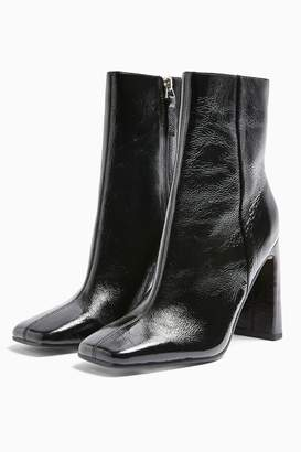 Topshop HALIA Leather Black Square Toe Boots