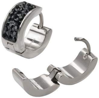 STEEL ART Steel Art Light Black Crystal Stainless Steel Huggie Earrings For Him or Her Hip Hop Bling Style