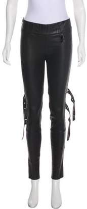 Thomas Wylde Low-Rise Leather Pants Black Low-Rise Leather Pants