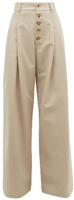 J.W.Anderson Wide Leg Cotton Trousers - Womens - Grey