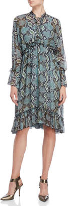 Karen Millen Snakeskin Print Ruffle Midi Dress