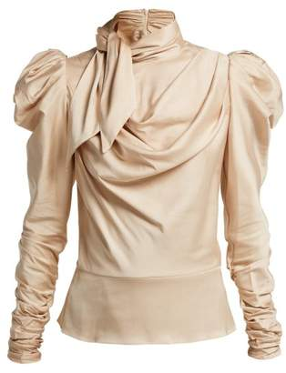 Zimmermann Fleeting Tie Neck Silk Blend Blouse - Womens - Cream