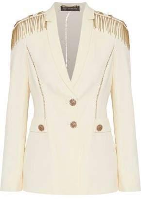 Versace Lattice-Trimmed Embellished Silk-Crepe Blazer