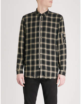 The Kooples Zip-up checked slim-fit woven shirt