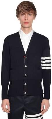 Thom Browne Intarsia Stripes Wool Milano Cardigan