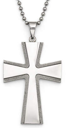 JCPenney FINE JEWELRY Mens Diamond Cut Cross Pendant Necklace