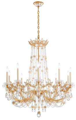 Schonbek Florabella 10-Light Chandelier in French Gold With Clear Heritage Crystal