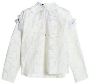 Mother of Pearl Embellished Devoré-Velvet And Tulle Turtleneck Top