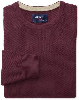 Charles Tyrwhitt Wine Merino Cotton Crew Neck Wool Sweater Size Small