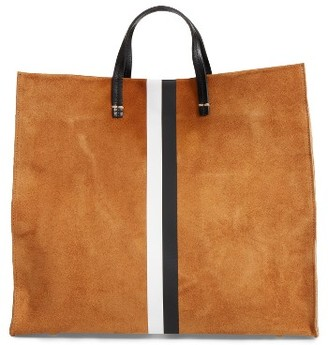Clare V. Simple Stripe Suede Tote - Brown $495 thestylecure.com