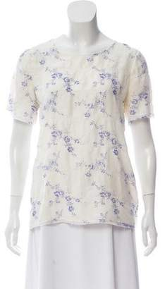 Thakoon Floral Print Short Sleeve Top