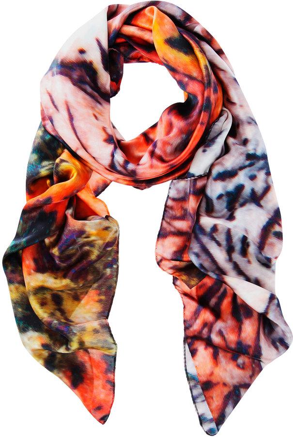 Red Jasper Print Silk Scarf, Weston Scarves