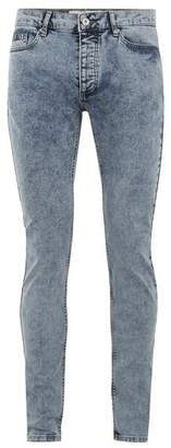 Topman Mens Blue Acid Wash Skinny Jeans