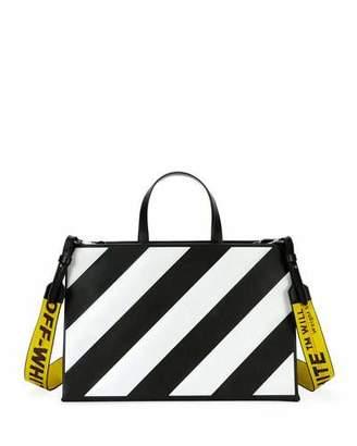 Off-White Medium Diagonal-Stripe Box Tote Bag