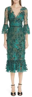 Marchesa Embroidered Ruffle Trim Sheath Dress