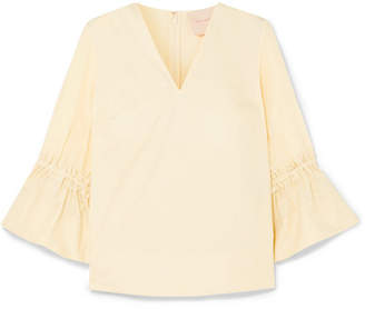 Roksanda Aspen Ruffled Cotton-poplin And Silk Crepe De Chine Top - White