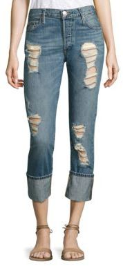 True Religion Liv Low-Rise Distressed Cuffed Skinny Jeans $229 thestylecure.com