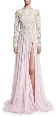 Naeem Khan Long-Sleeve Beaded Lace & Chiffon Gown, Ivory