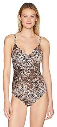 Calvin Klein Women's Printed Twist Over Shoulder One Piece Swimsuit Tummy Control