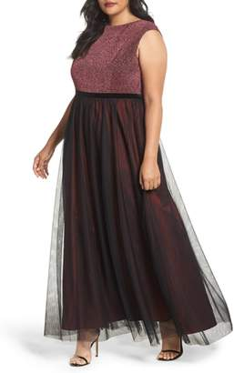Sangria Metallic Knit & Tulle A-Line Gown