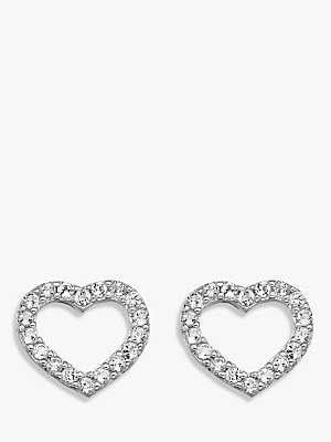 Hot Diamonds Bliss Diamond and White Topaz Heart Stud Earrings, Silver