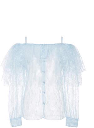 Rodarte Cold-Shoulder Ruffled Tulle Blouse