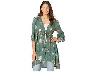 Angie 3/4 Sleeve Floral Print Kimono with Stretch Waist Women's Clothing