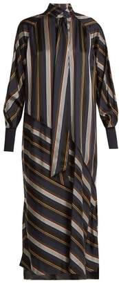 Roksanda Odelle Striped Satin Dress - Womens - Green Multi