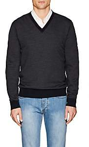 Fioroni Men's Diagonal-Jacquard Mélange Wool-Cashmere Sweater - Navy