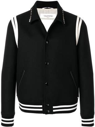 Valentino studded collar college jacket