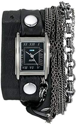 La Mer Women's LMMULTI7000 Carerra Stainless Steel Watch with Leather Wraparound Band