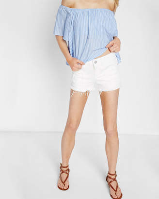 Express Low Rise Frayed Cutoff White Shorts