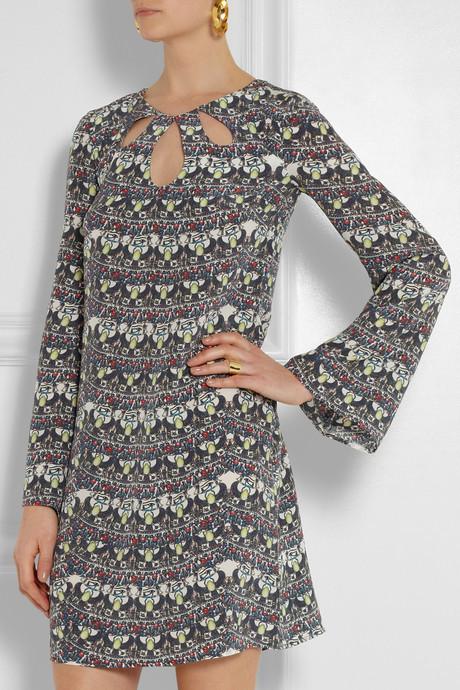 Issa Cutout printed silk mini dress