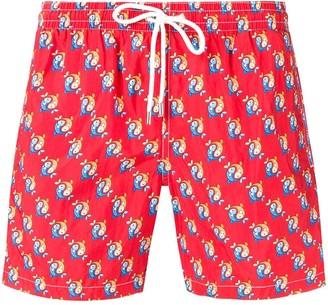 Eleventy fish patterned swim shorts