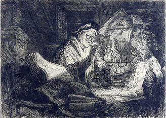 One Kings Lane Vintage Rembrandt's Rich Man Etching - Artifax Antiques