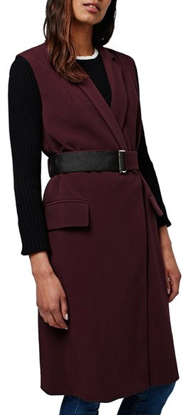 TopshopWomen's Topshop Sleeveless Belted Coat