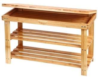 Mllieroo Bamboo 2 Tier Shoe Rack Storage Bench Organizer Entryway Organizing Shelf with Storage Drawer