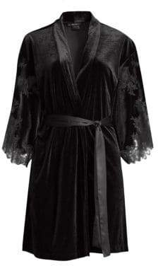 Natori Velvet& Lace Short Wrap Robe