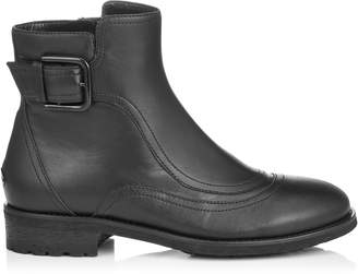 Jimmy Choo BRYLEE FLAT Black Smooth Leather Ankle Booties