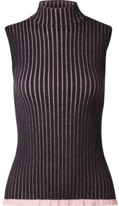 Burberry Striped Ribbed Cashmere And Silk-blend Turtleneck Top - Charcoal