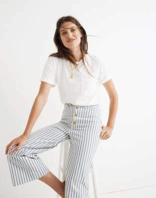 Madewell Emmett Wide-Leg Crop Pants in Stripe: Button-Front Edition