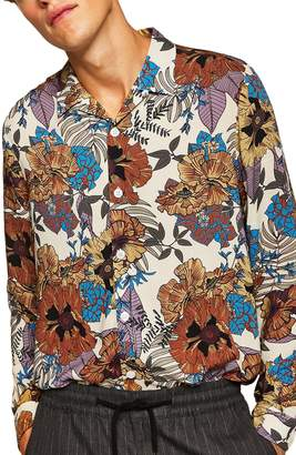 Topman Floral Wing Collar Classic Fit Shirt