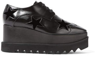 Stella McCartney - Velvet-trimmed Faux Leather Platform Brogues - Black $1,100 thestylecure.com