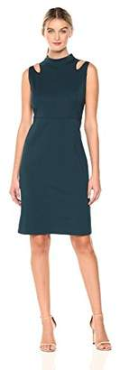 Savoir Faire Dresses Women's Sleeveless Ponte Roma Fitted Cold-Shoulder Dress 4