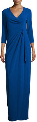 Rickie Freeman For Teri Jon 3/4-Sleeve Ruched Column Gown, Royal