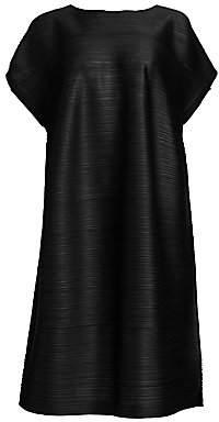 Pleats Please Issey Miyake Women's Tucked Short Sleeve Bounce Dress
