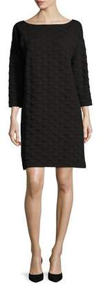 Joan Vass 3/4-Sleeve Textured Dot Dress, Plus Size