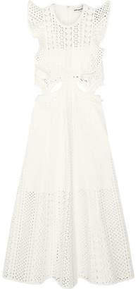 Self-Portrait - Ruffled Cutout Guipure Lace Midi Dress - White $330 thestylecure.com