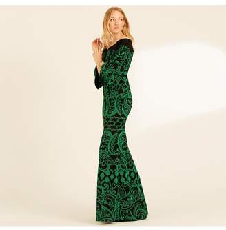 Amanda Wakeley Off Shoulder Emerald Paisley Jacquard Dress